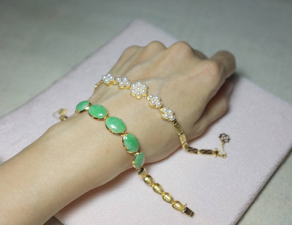 Antique chinese jade bracelet peranakan jewelry 20k gem for Pictures of jade jewelry