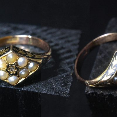 19th Century Enamel Gold Rings Antique