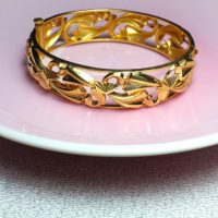 Antique Art Nouveau Chinese Bangle 22k Peranakan
