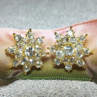 Old European Cut Diamond Earrings, Antique Peranakan