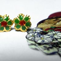 22k Enamel Small Flower Stud Earrings, Vintage Chinese