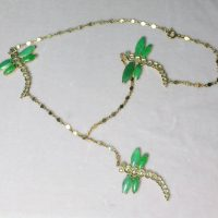 Dragonfly Antique Jade Diamond Necklace Chinese Lariat