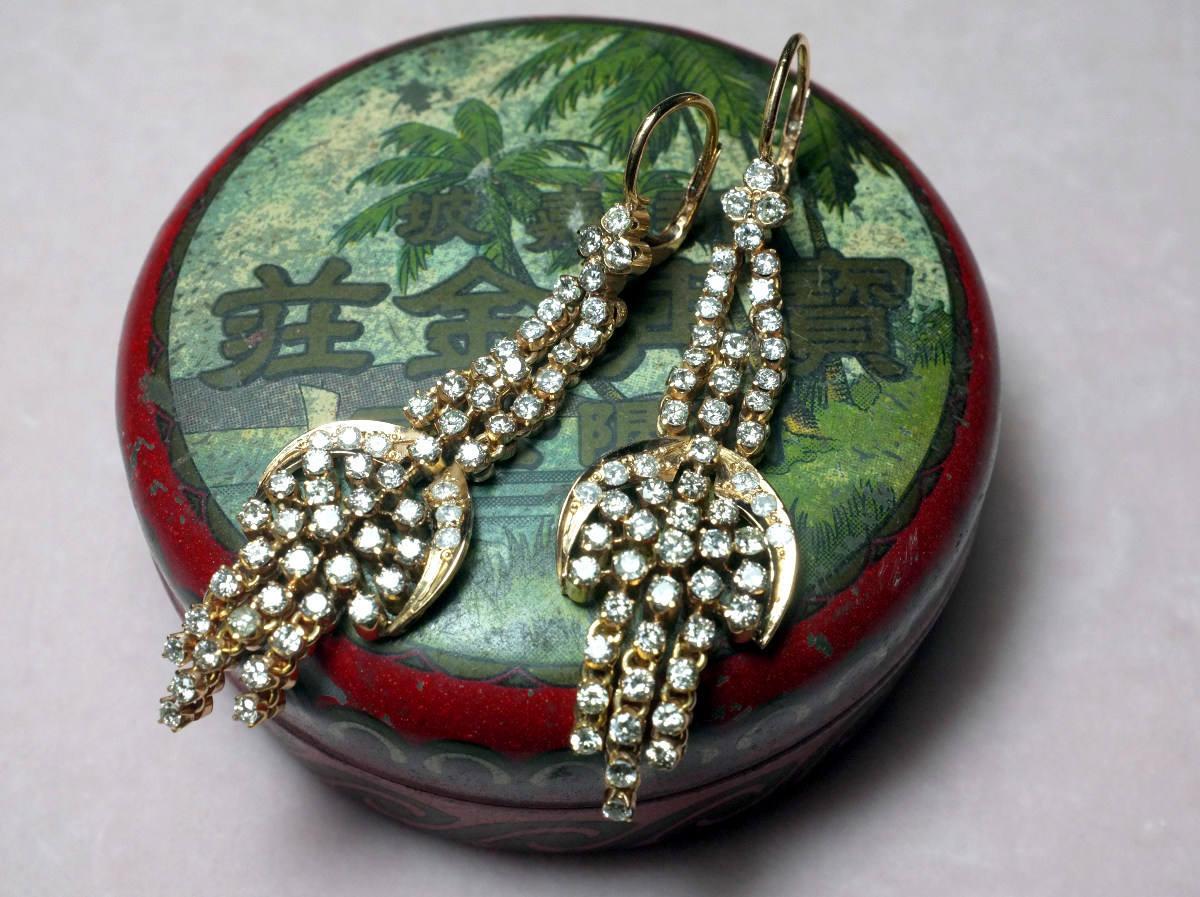 20k Antique Diamond Chandelier Earrings Chinese Jewelry | Gem Gardener