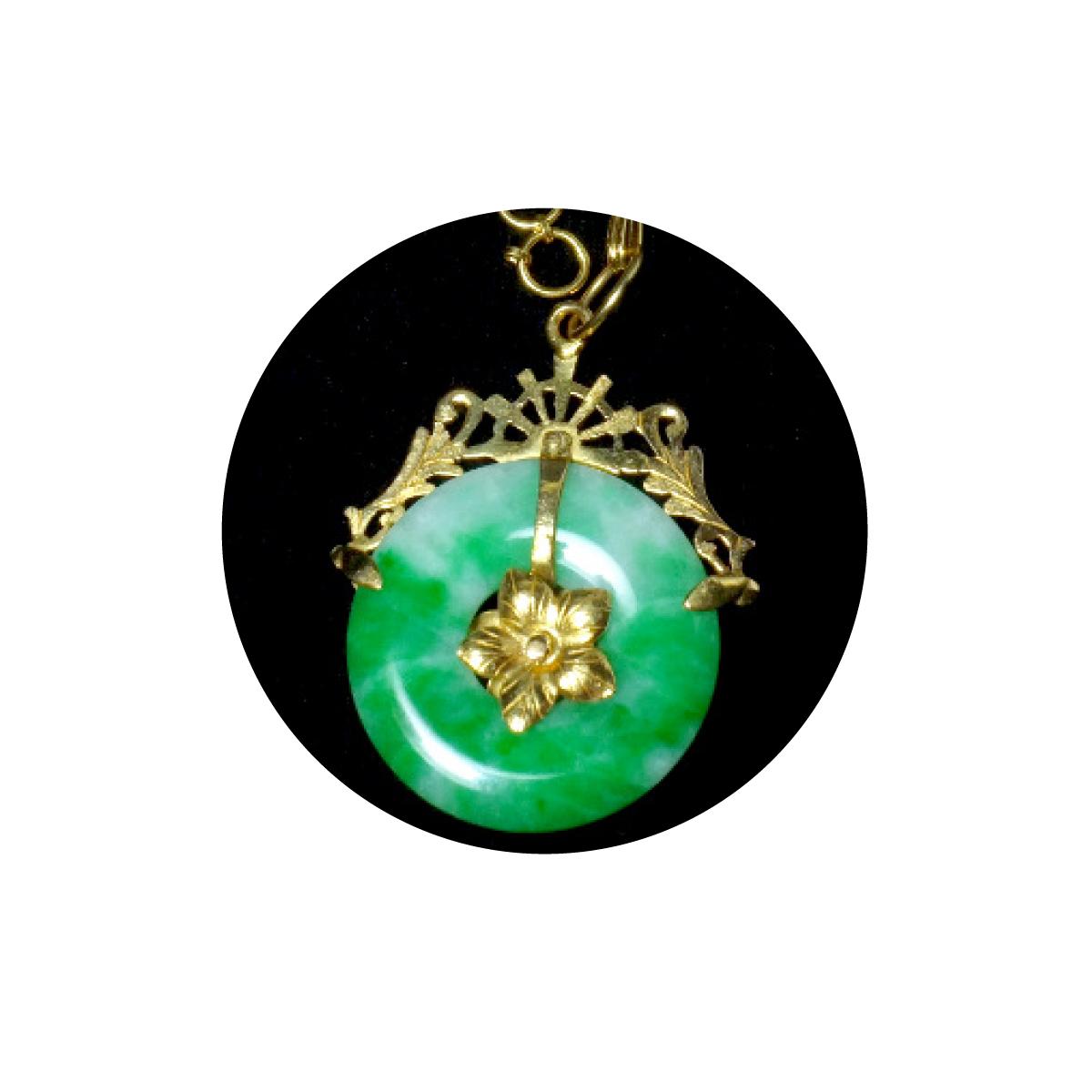 20k Antique Jadeite Jade Donut Pendant Chinese Jewellery
