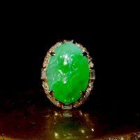 art deco carved jade ring